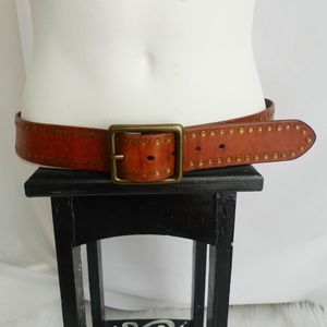Banana Republic Red Brown Leather Belt Brass Sz S